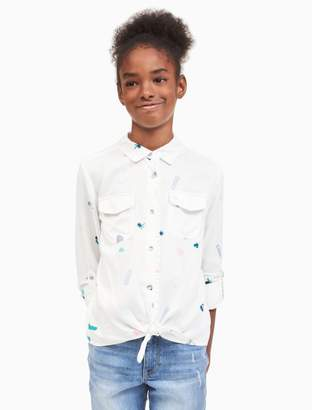 Calvin Klein girls allover print tie-front shirt