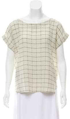 Steven Alan Silk Windowpane Print Top