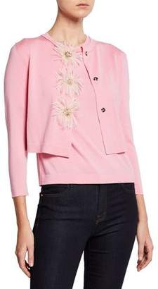Escada Feather Floral Snap Crop Cardigan