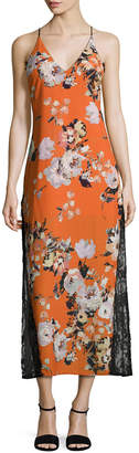 ABS by Allen Schwartz Floral Printed Tea Length Dress