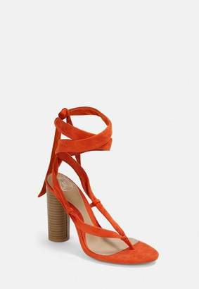 Missguided Orange Faux Suede Wrap Toe Post Sandals