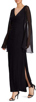 Lauren Ralph Lauren Georgette-Sleeve Jersey Evening Gown