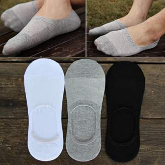 Sunrain New 6 Pairs Men Boat Invisible No Show Non-Slip Liner Low Cut 100% Cotton Mens Ankle Socks