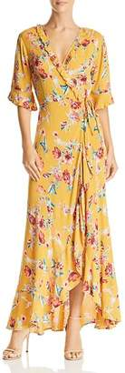 Band of Gypsies Hudson Floral-Print Maxi Wrap Dress