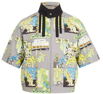 Prada Comic Print Short Sleeved Jacket - Mens - Grey Multi