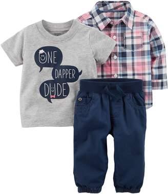 "Carter's Baby Boy One Dapper Dude"" Tee, Plaid Shirt & Pants Set"