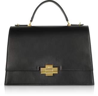 N°21 Black Leather Alice Top Handle Satchel Bag