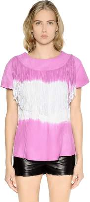 Drome Tie Dyed & Fringed Nappa Leather Top
