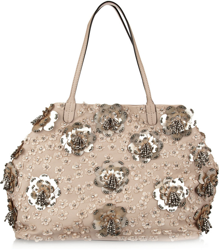 Valentino Floral-appliquéd leather tote