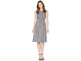 Adrianna Papell Gingham Midi Fit and Flare Dress Women's Dress