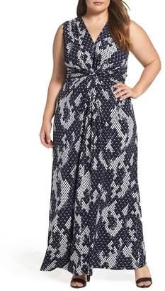 Eliza J Knot Front Maxi Dress (Plus Size)