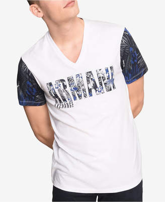 Armani Exchange Men's Logo Palm Print Contrast Sleeve T-Shirt