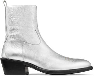 Jimmy Choo JESSE Silver Metallic Vachetta Leather Boots with Laser Detail