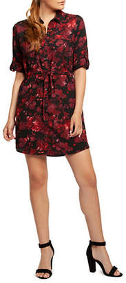 Dex Floral-Print Roll-Tab Shirt Dress