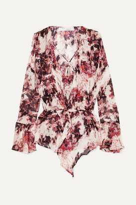 IRO Paradon Ruffled Floral-print Georgette Wrap-effect Blouse - Ecru