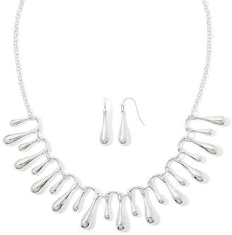Liz Claiborne Silver-Tone Fringe Collar Necklace and Earring Set