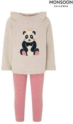 Monsoon Girls Baby Polly Panda Two Piece Set - Cream