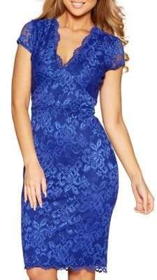 Quiz Scalloped Lace Hem Midi Dress