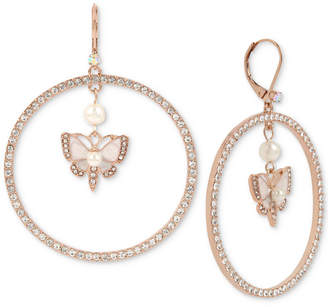 Betsey Johnson Extra Large Rose Gold-Tone Crystal & Imitation Pearl Butterfly Drop Hoop Earrings