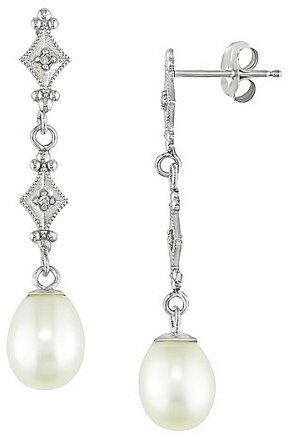 14K White Gold Rice Pearl Drop Earrings - EDRKW6036