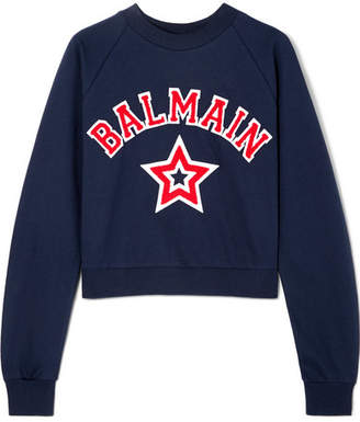 Balmain Cropped Appliquéd Cotton-jersey Sweatshirt - Navy