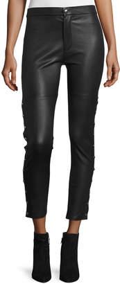 IRO Sabrina Snap-Trim Leather Ankle Pants, Black