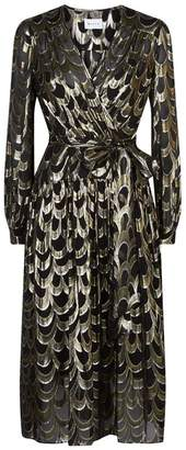 Milly Katy Metallic Wrap Dress