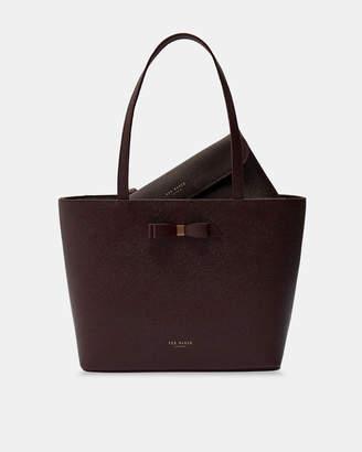 9e68ff37f94a Ted Baker JJESICA Bow detail leather shopper bag