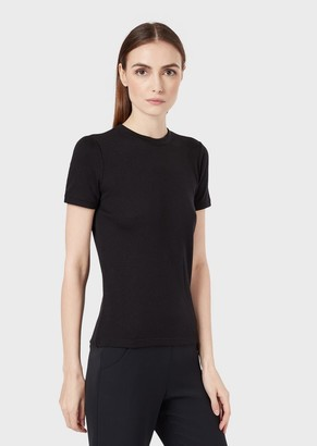 Giorgio Armani Sweatshirt In Bonded Virgin Wool Interlock With Laminate Logo