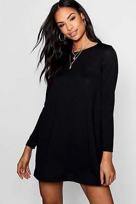 boohoo NEW Womens Knitted Swing Dress in Polyester 5% Elastane