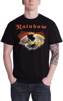 Rainbow T Shirt Rising Album Cover Band Logo Official Mens New Black