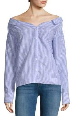 ENGLISH FACTORY Off-Shoulder Stripe Shirt