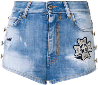 Just Cavalli embroidered patch distressed denim shorts