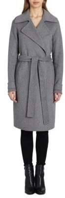Badgley Mischka Double-Faced Wool-Blend Wrap Coat