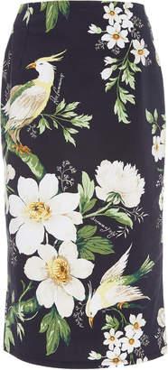 Carolina Herrera Midnight Garden High-Waisted Floral-Print Cotton-Blen