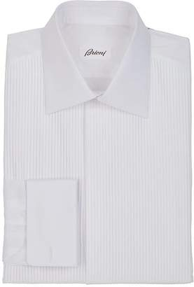 Brioni Men's Striped-Bib Cotton Voile Tuxedo Shirt