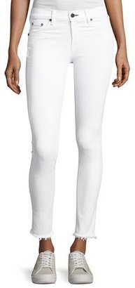 rag & bone/JEAN Mid-Rise Skinny-Leg Frayed Hem Jeans, White $195 thestylecure.com