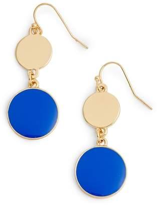 Halogen Double Disc Drop Earrings