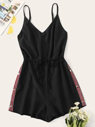 Shein Contrast Taped Side Drawstring Romper