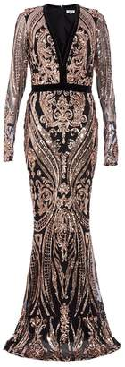 Quiz Black And Rose Gold Sequin Embellished Fishtail Maxi Dress