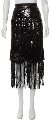 Diane von Furstenberg Embellished Fringe Midi Skirt w/ Tags