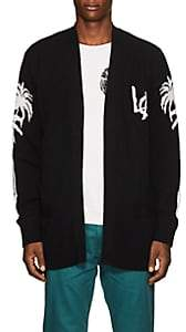 ADAPTATION Men's Palm-Tree-Print Cashmere Cardigan - Black