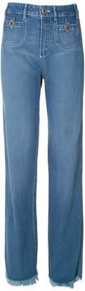 See by Chloe Frayed Hem High-rise Straight-leg Jeans