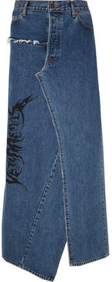 Vetements Distressed Printed Denim Maxi Skirt - Mid denim