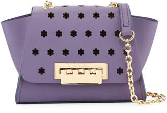 Zac Posen Eartha Floral-Perforated Chain Strap Leather Crossbody Bag, Medium Purple