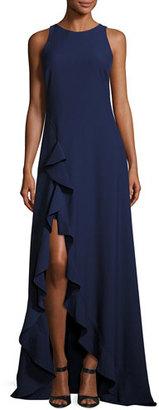 ZAC Zac Posen Janice Sleeveless Ruffle-Trim Stretch Crepe Gown, Blue $790 thestylecure.com