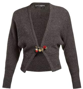 Dolce & Gabbana Safety Pin Wool Blend Cardigan - Womens - Grey