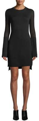 Theory Long-Sleeve Split-Cuff Merino Wool Dress