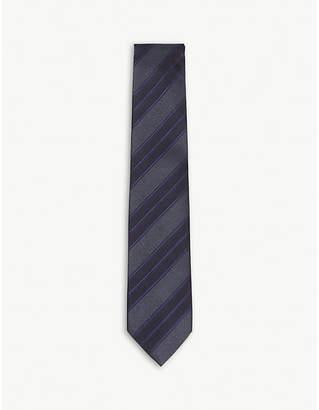 HOLIDAY & BROWN Diagonal double stripe silk tie