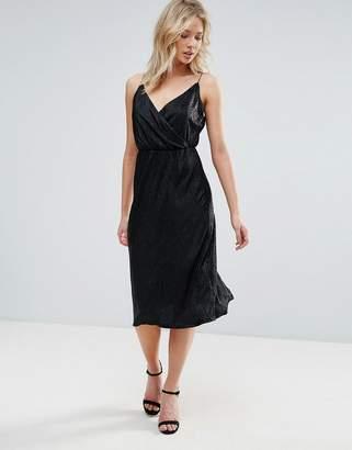 Zibi London Metallic Wrap Cami Midi Dress